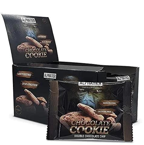 Alphatier Chocolate Protein Cookie, 12 x 50 g Cookies, Double Chocolate Chip
