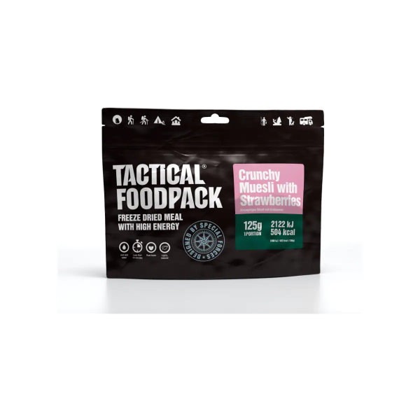 Tactical Foodpack Crunchy Muesli with Strawberries, 125 g Beutel