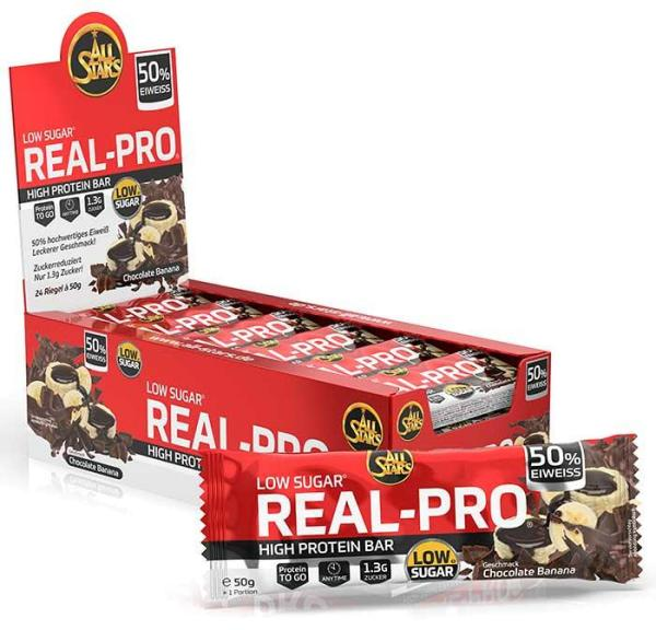 All Stars Real-Pro 50% Protein Bar, 24 x 50 g Riegel